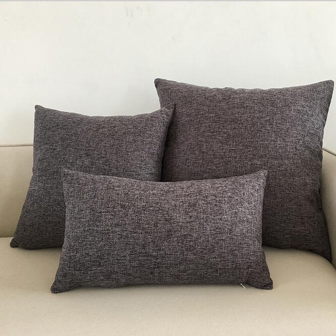 Fyjafon Thick 2pcs <font><b>Pillow</b></font> <font><b>Case</b></font> Solid <font><b>Pillow</b></font> Cover Decorative <font><b>Pillow</b></font> <font><b>Case</b></font> Cotton Linen Cushion Covers 45*45/55*55/<font><b>30*50</b></font>/60*60 image