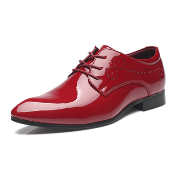 Seasons Men Big Genuine Leather Pointed-Toe Dress Shoes British Fashion Flowers Mens Large Shoes Male Glossy Dance Party Shoes