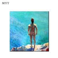 Pop Art Hand painted oil painting Wall art Decor on Canvas Naked man facing the sea figure poster for living room home decor