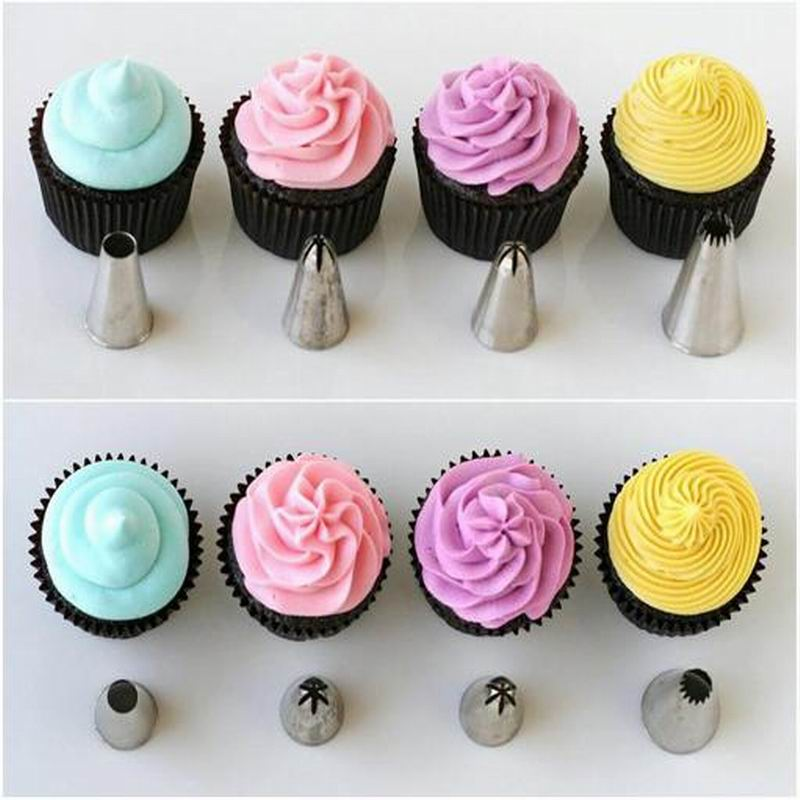48 stainless steel head <font><b>decorating</b></font> mouth cream cake baking cups set DIY cookie roses <font><b>home</b></font>