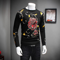 Men Sweaters 2016 Winter New Thicken Pull Homme Fashion Flower Print Warm Pullover Men O-Neck Slim Fit Casual Men Jumpers 4XL-M