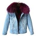 Marca otoño invierno chaqueta de abrigo de las mujeres Agujeros Denim chaqueta real gran cuello de piel de mapache y de alta calidad de algodón gruesa caliente Liner