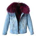 brand autumn winter jacket coat women Holes Denim jacket real large raccoon fur collar and high quality cotton thick warm Liner