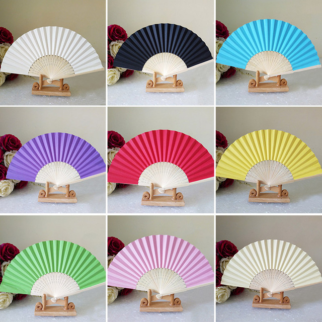 1pcs Chinese Folding Hand Held Bamboo Paper Fans Pocket Fan Background Decorations Wedding Birthday Baby Shower Party Decor
