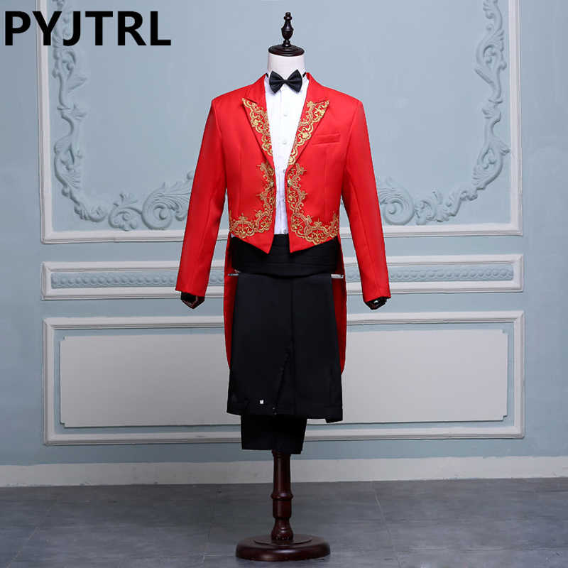 (Jacket+Pants) Black White Red Singer Stage Show Host Ceremonies Tuxedo Classic Wedding Mens Suits With Pants Men Tailcoat