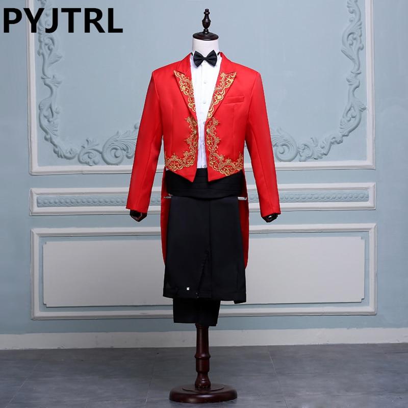 (Jacket+Pants) Black White Red Singer Stage Show Host