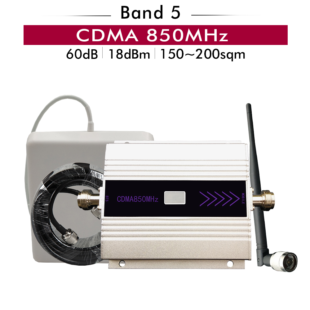 60dB Gain CDMA 850mhz Signal Booster (LTE Band 5) CDMA 850 Cell Phone Signal Repeater Full Set With Panel Whip Antenna 10M Cable