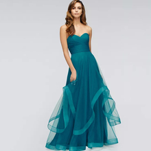 Eightree Classic Strapless Sweetheart Evening Dress Green Bodice Wide Waistband A-line Prom Wedding Party Tulle Backless