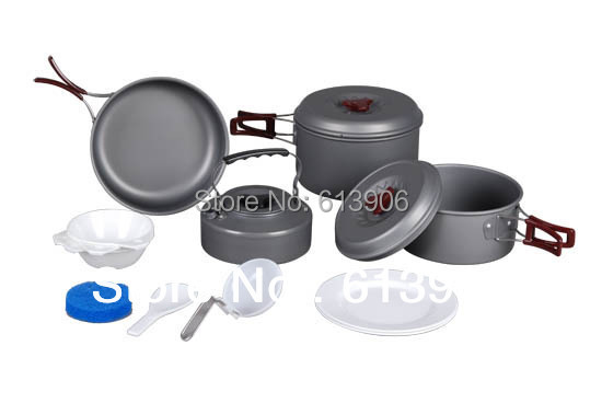 3~4 Persons Family Cooking Set Camping Outdoor Pot Hiking Picnic Cookout Cookware Cook Set