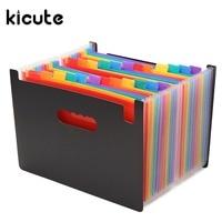 Kicute 1pcs High Quality Multicolour Stand Expandable Portable Accordion A4 File Rainbow Document Bag Office School