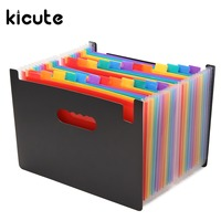 Kicute 1pcs High Quality Multicolour Stand Expandable Portable Accordion A4 File Rainbow Document Bag Office School