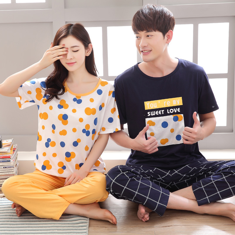 Hot Couple Pajama Sets Polka Dot Pijama Women Sleepwear Men Summer Pyjama Shortsleeved Nightgown Women Home Clothes Round Neck