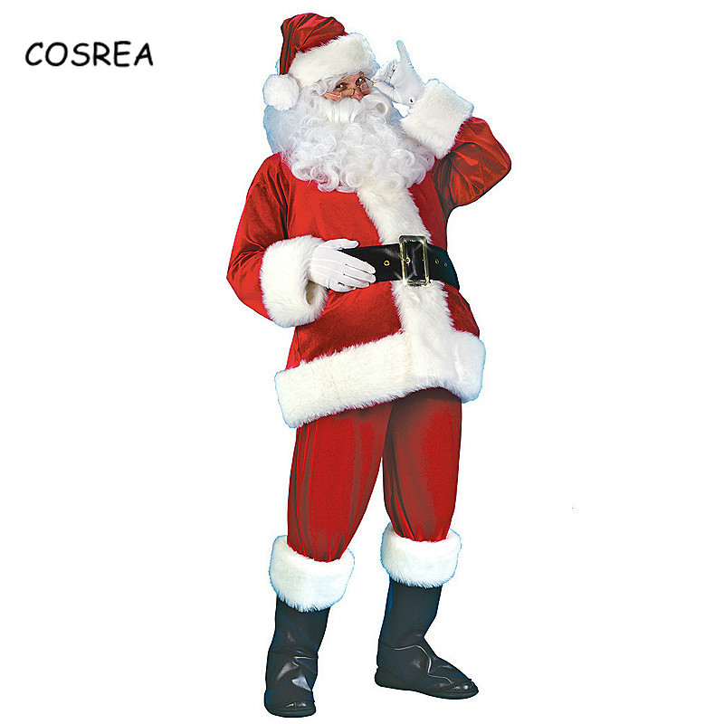 Christmas Santa Claus Costume 7 PCs Suit Plush Father Fancy Clothes Xmas Elf Cosplay Props Coat Pants Beard Belt Hat for Adults