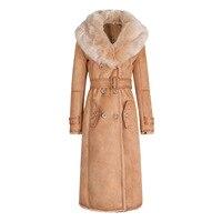 Женское меховое пальто зимнее пальто женское большой меховой воротник замшевая подкладка меховое пальто женское модное плюшевое тонкое за