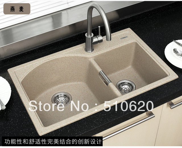 Free shipping FQ760 Granite double bowl kitchen sink 4 colours for ...