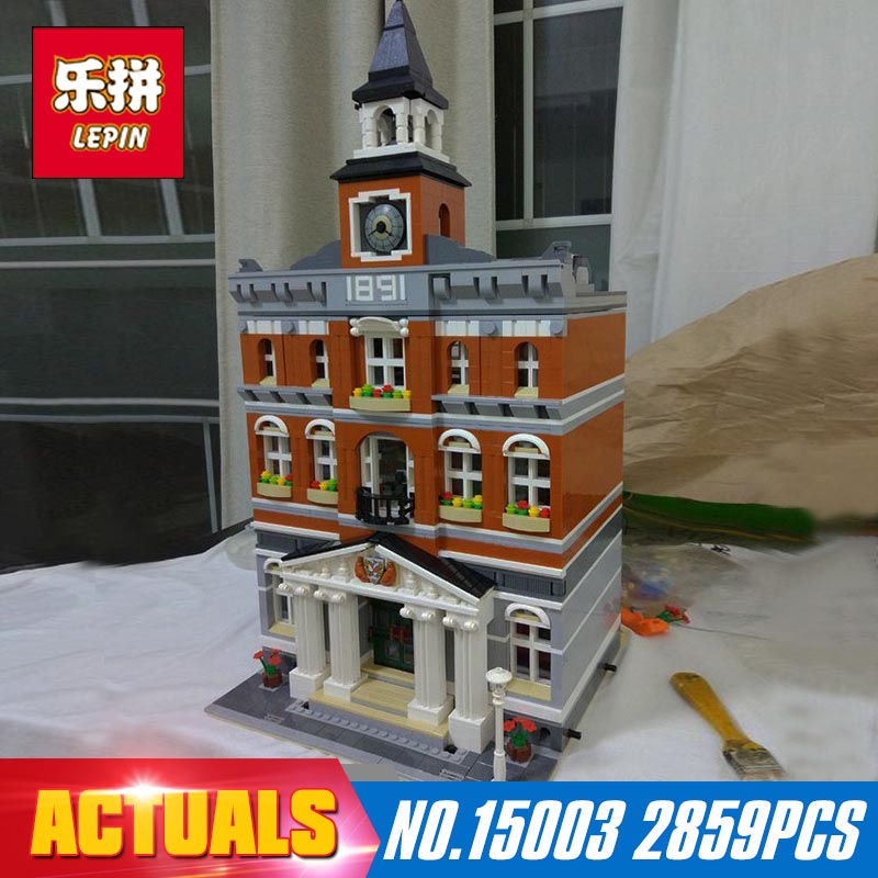 New Lepin 15003 2859Pcs The topwn hall Model Building Blocks Kid Toys Kits compatible with 10224 Educational Children day Gift lepin 15003 2859pcs city creator town hall sets model building kits set blocks toys for children compatible with 10024