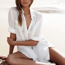 2019 bawełniana tuniki na plaży kobiety strój kąpielowy pokrywa się kobieta stroje kąpielowe plaża pokrywa się Beachwear Pareo sukienka plażowa Saida de Praia tanie tanio sunforyou Pasuje do rozmiaru Weź swój normalny rozmiar Bawełna Stałe Beach dress Swim suit cover up Bathing suit cover up