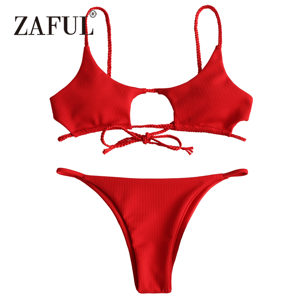 ZAFUL Bikini Braided Ribbed Women Swimsuit Cutout Bikini Set Solid Padded Swimwear Sexy Low Waisted Swimming Suit Beach Biquni sexy cami purple high waisted women s bikini set