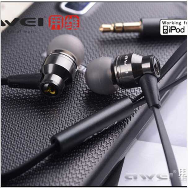 Awei ES800M 3.5mm In-ear Earphones earbuds Super Clear Bass Metal earphone for MP3 MP4 Cellphone original awei es800m super bass music earphone in ear headphones earbuds adjustable volume without mic