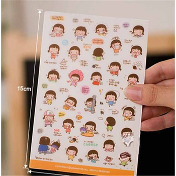 G211 Korean stationery cute creative cartoon South Korea Momoi girl sticker biscuit girl sticker Office supplies for students image