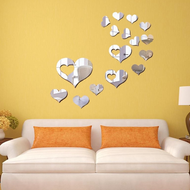 Hot!!!Removable 16pcs Love Heart Acrylic Mirror Wall Stickers Decal ...