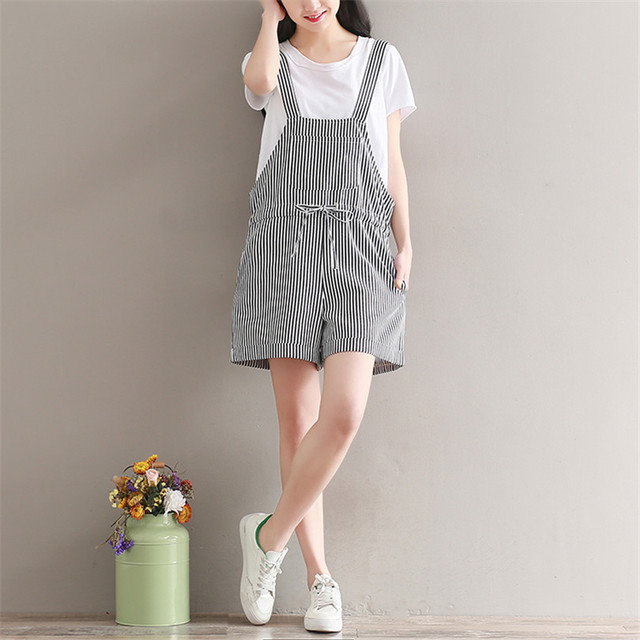 82bbbcfd003 2018 Summer Women Rompers Clothing Bow Tie Cotton Linen Striped Playsuits  Loose Casual Jumpsuit Short Sleeveless