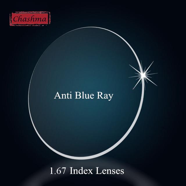 Chashma Alta Qualidade Índice Índice de 1.67 Receita Anti Blue Ray Visão Única Lente Óptica Lentes De Vidro Transparente