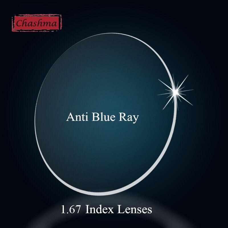 Lentille asphérique 1.67 mince Anti-rayons bleus recette optique résistance à la lumière bleue verre Prescription lentilles antireflets