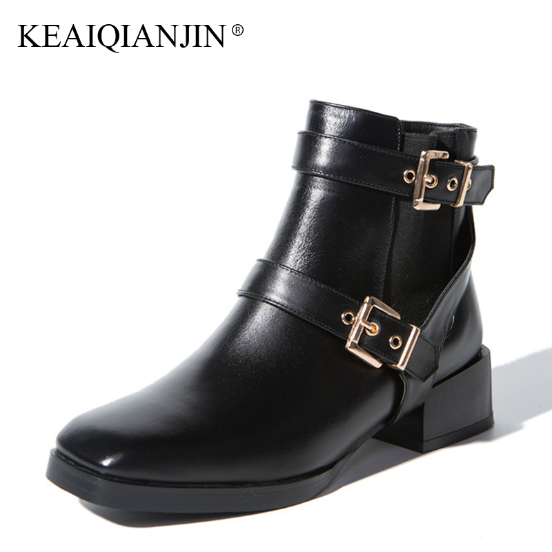 KEAIQIANJIN Woman Martin Boots Autumn Winter Black Apricot Metal Decoration Bottine Shoes Genuine Leather High Heels Ankle Boots keaiqianjin woman pointed toe ankle boots black autumn winter genuine leather shoes fashion metal decoration chelsea boots 2017