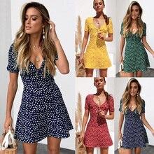 a212904283 2019 kobiet lato Mini sukienka damska z krótkim rękawem Bodycon Beach Party  Dot Sundress robe femme