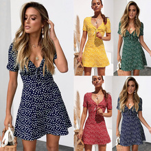 2019 Womens Summer Mini Dress Ladies Short Sleeve Bodycon the dress Beach Party Dot Sundress robe femme women dress woman cloth