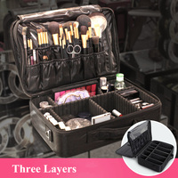 Black/Pink Color Large Size Professional Makeup Box Bag Travel Case Beauty Necessaries Make Up Storage Beautician Box Organizer
