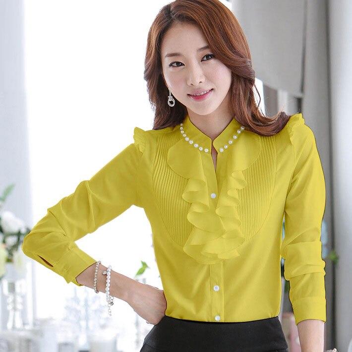 746d254aed1 Blusa de uniforme Para Señoras de la Oficina 2017 Del Verano de La Vendimia  Elegante Estilo Coreano Más El Tamaño Que Rebordea Ruffles Tops Blusas  Camisas ...