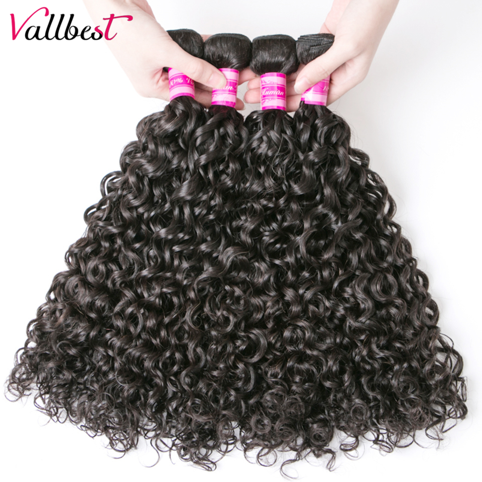 Vallbest Human Hair Water Wave Hair 4 Bundles Deals Beach Hair Extensions Natural Black  ...
