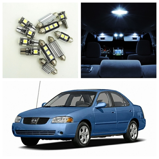 9pcs White Led Light Bulbs Interior Package Kit For Nissan Sentra