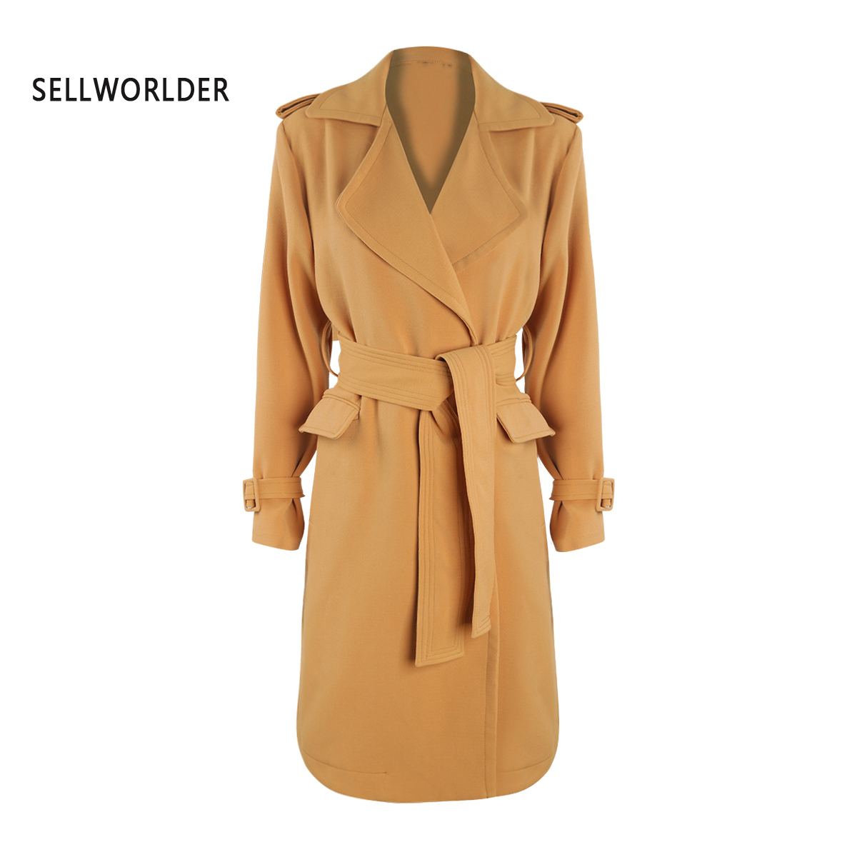 2019 Ginger Epaulettes Waist Knot Hem Open Safari   Trench   Coat For Female Natural Leisure Style Winter Autumn