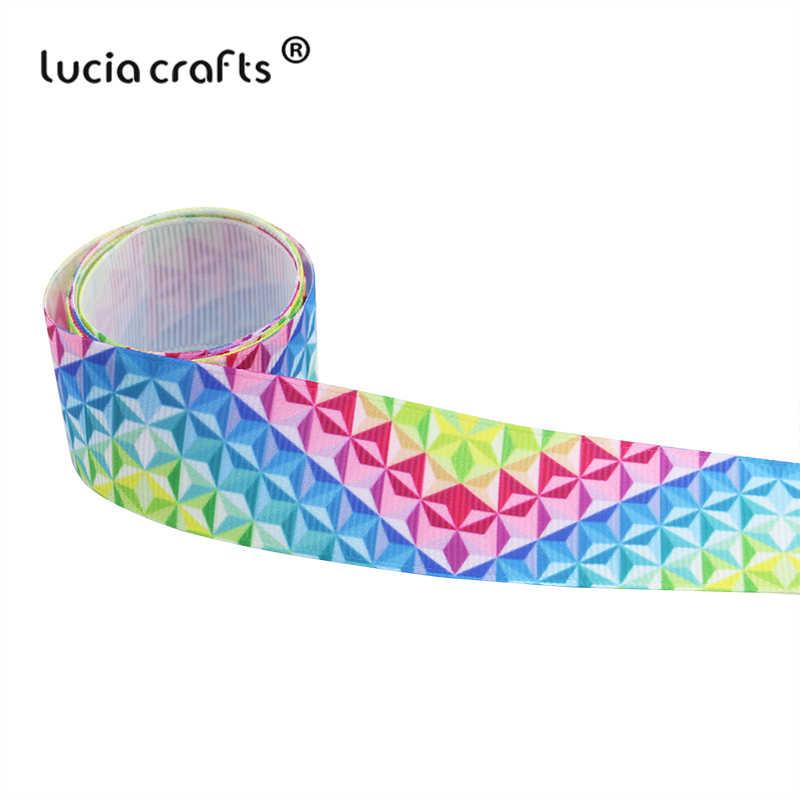 ขาย! Lucia หัตถกรรม 2y 25/38 มม.พิมพ์เรขาคณิต Grosgrain ริบบิ้นโบว์หัตถกรรมเย็บผ้า DIY Handmade อุปกรณ์เสริม S04C3G03D