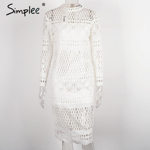 Simplee Hollow out white lace dress Women autumn winter long sleeve sexy dress Elegant evening party black dresses vestidos
