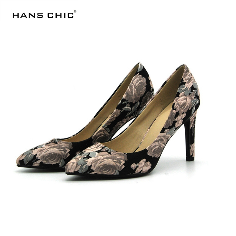 HANSCHIC 2017 New Special Design Chinese Black Embroidery Floral Retro High Heels Ladies Women Pumps Shoes for Female 1066-16 100 super cute little embroidery chinese embroidery handmade art design book