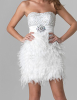 New Arrival Sheath Beaded Sweetheart Short Party Dresses 2017 Fashionable A Line White Feather Beading Cocktail