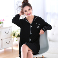 Woman Dresses Spring Cotton long Sleeved Black Dress Clothes Home Furnishing Size Women Sleepshirts Nightgowns