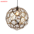 Постсовременный многогранный Алмазный подвесной светильник  полый шар из нержавеющей стали  подвесной светильник E27  светильник для кафе-б...
