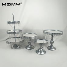Wholesale 4 PCS Mirror Wedding 3 Tier Cupcake Display  Gold Silver Metal Cake Stand