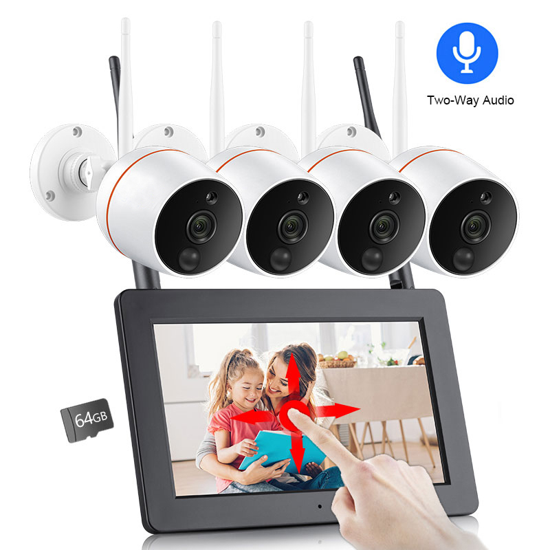 Techage 4CH 1080P Wifi Wireless 7 LCD Touch Screen Monitor NVR Camera System 2MP Two-Way Audio SD Card Record CCTV Security KitTechage 4CH 1080P Wifi Wireless 7 LCD Touch Screen Monitor NVR Camera System 2MP Two-Way Audio SD Card Record CCTV Security Kit