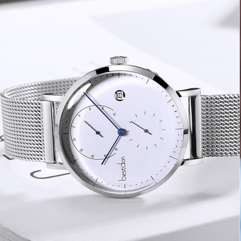 Image 5 - Bestdon Bauhaus Дизайнерские мужские часы Топ люксовый бренд нержавеющая сталь большой циферблат кварцевые наручные часы модные простые ультра тонкие часы-in Кварцевые часы from Ручные часы on AliExpress