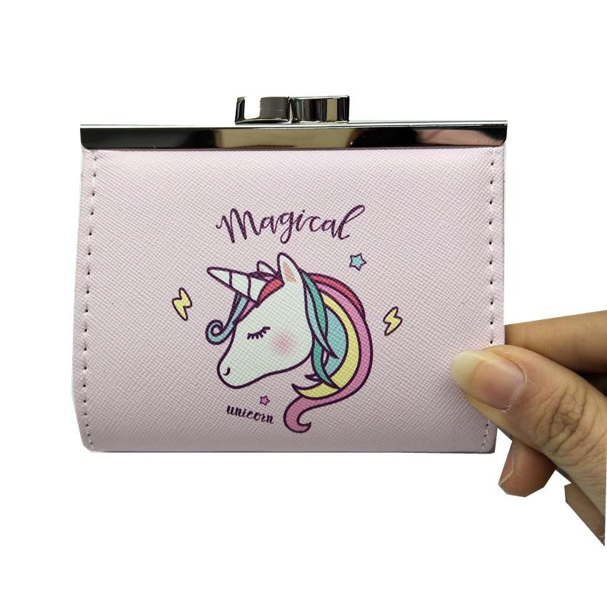 M277 2018 Cute Cartoon Women Purse Hasp Coin Purses Unicorn Fashion Design Card Bag Girl Women Student Gift Wholesale