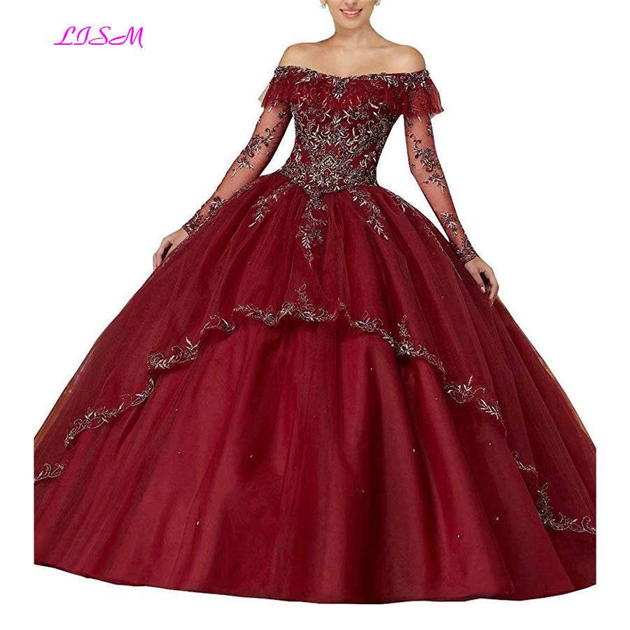 Embroidered Beaded Quinceanera Dresses Off the Shoulder Long Sleeves Ball Gowns Organza Puffy Sweet 16 Pageant