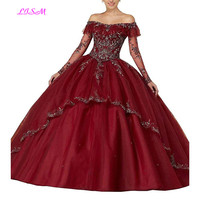 Embroidered Beaded Quinceanera Dresses Off the Shoulder Long Sleeves Ball Gowns Organza Puffy Sweet 16 Pageant Prom Party Dress