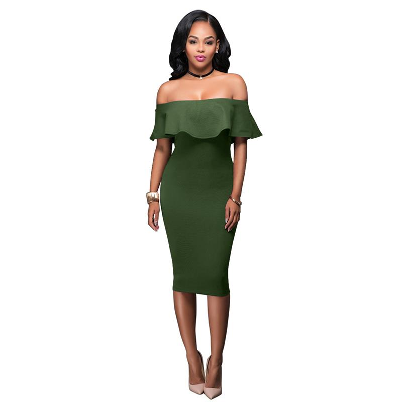 Buy Cheap Women Summer Dress Short Sleeve Off The Shoulder Ruffles Dresses Bodycon Sexy Party Dresses Plus Size LJ8465E