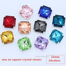 12p 23mm square color sew on glass faceted crystal Flat back rhinestones  silver base jewels craft ebd92f1a252c